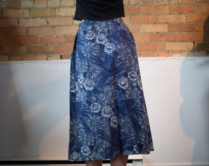 """Vintage Blue Floral Skirt - 27"""" High Waisted Spring Summer Skirt with Birds and Flowers - Made in Canada by Julian"""