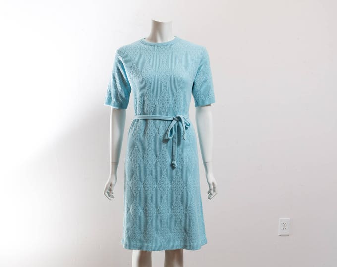 Vintage Baby Blue Knit Dress / Robins Egg Blue Sweater with Original Belt and Diamond Shape Pattern / Geometric Soft Acrylic Long Sweater