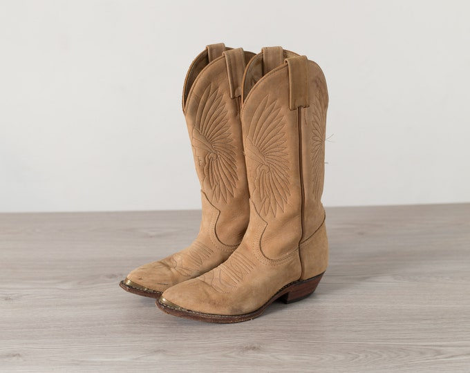 Vintage Cowboy Boots - Ladies Size 4.5 Brown Tan Leather Western Ranch Boots - Slip ons - Made in Canada