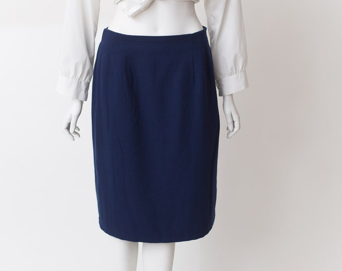 Vintage Blue Skirt - Formal Office Short Skirt -  Spring or Summer Solid Simple Skirt