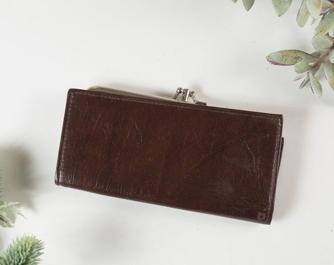 Vintage Brown Leather Clutch with Silver Coloured Hardware - Women's Leather Folding Wallet - Purse - Prom Purse -Mother's Day Gift