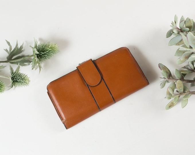 Vintage Tan Clutch - Women's Leather Wallet / Purse - Hippie wallet -Mother's Day Gift