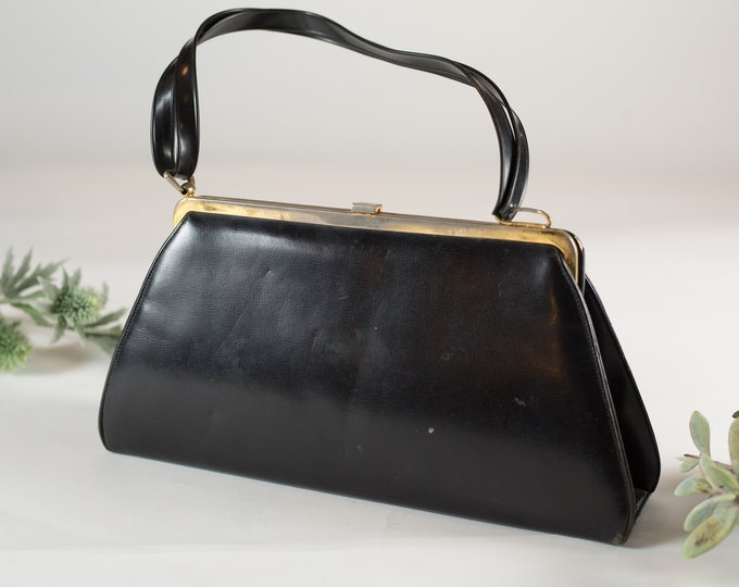 Vintage Black Purse - A-line Shape Grey and Gold Glamour Evening Purse - Faux Leather Brass Gold Hardware Handbag - Prom Purse -Mother's Day