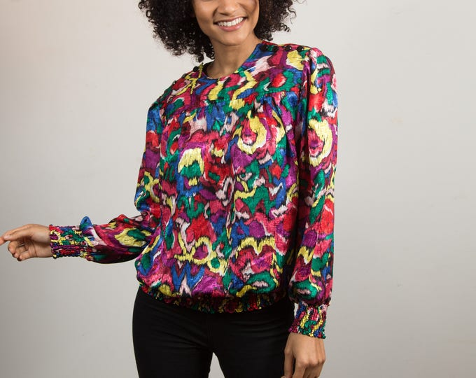 Vintage Floral Blouse - Women's / Ladies Long Sleeve Shirt with Elastic Waist and Flower Pattern - Fresh Prince Vibes - Galinda Wang