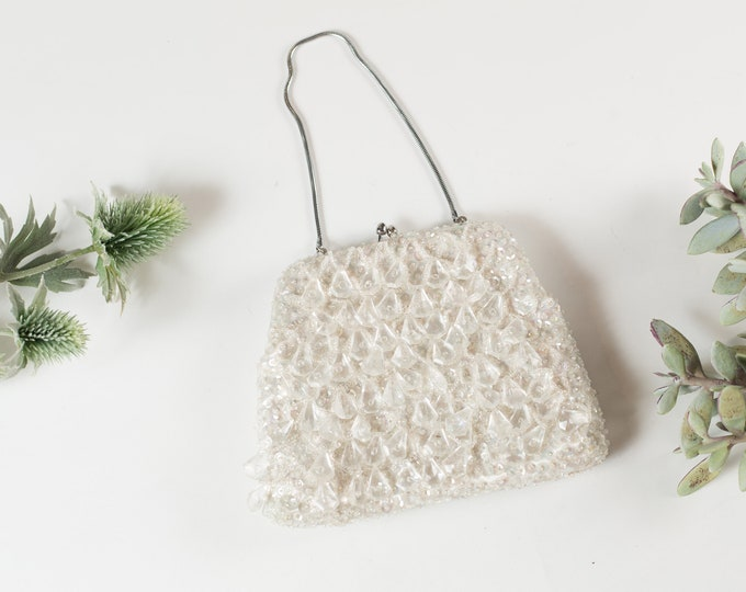 Vintage Beaded Hand Purse - Floral Ornate Art Deco Flapper Style White Colored Purse or Carrying Bag with Clasp - Mother's Day Gift