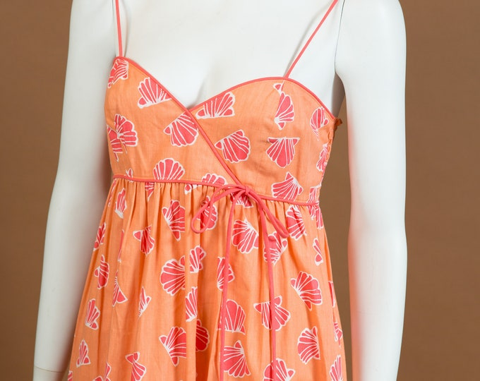 Vintage Pink Dress - Small Size Living Coral Colour Shells - Retro 70's Beach Dress
