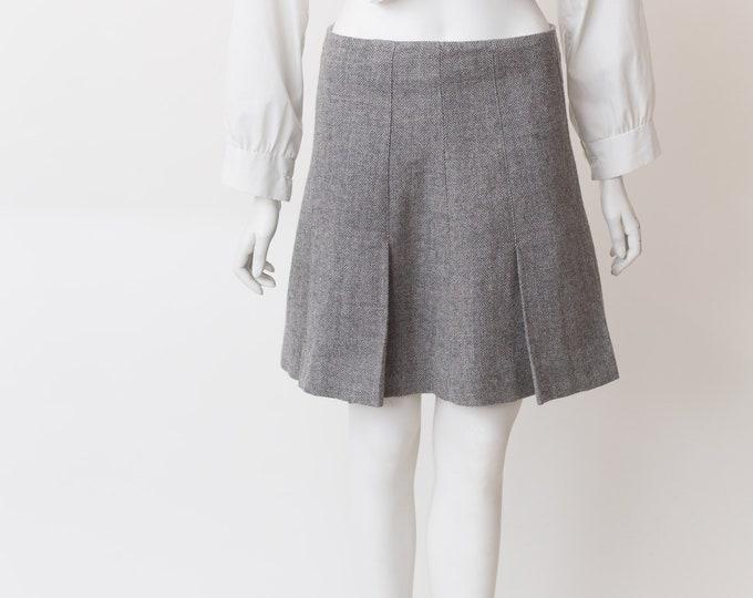 Grey Hold Renfrew Skirt - Pleated Vintage Wool Skirt - Short cit Spring or Summer Solid Simple Skirt