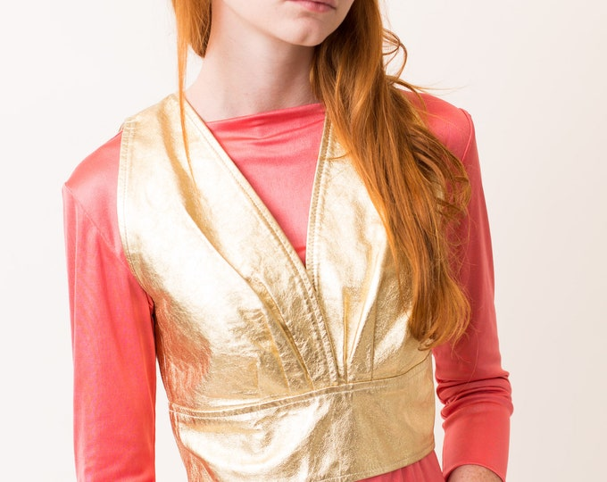 Vintage Gold Vest - Leather Tank Top with Buttons at Back - Women's Shimmery Glam Metallic Party Top