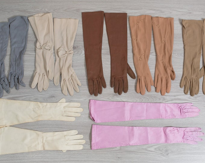 Vintage Long Gloves  - 7 Pairs of Evening Gloves / Formal Gloves / Costume Gloves / Ladies Gloves / Women's Gloves / Pink Gloves