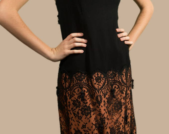 Vintage Flapper Style Dress - Scoop Neck Midi Dress with Ornate Lace Skirt and Beaded Tassels
