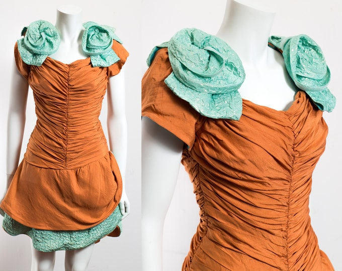 Vintage Halloween Pumpkin Dress / 60's Orange and Green Costume Dress with Short Skirt and Puffy Shoulders / Teenage Girl Dress / Winston