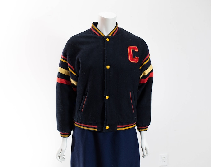 Vintage Varsity Jacket /  Ladies Dark Blue Wool Button Up Coat / Small Women's Bomber Jacket with Red and Yellow Stripes
