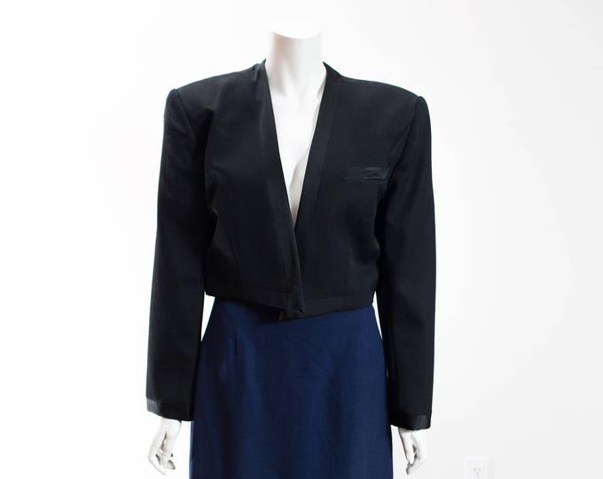 Vintage Cropped Jacket / PSI by Alvin Bell Black Wool with Silk Trim Crop Top Blazer Suit Jacket