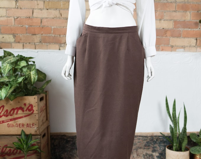 "Vintage Brown Skirt - 32"" Spring Summer Wool Skirt with Mocha Brown Colour by Carmela Fashions - Made in Canada"