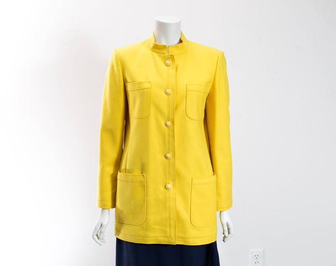 Vintage Yellow Wool Jacket / Irving Samuel Montreal Bright Yellow Button Up Military Style Coat Jacket / Fitted Warm Fall Winter