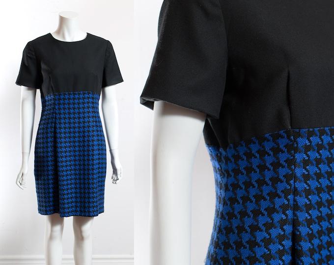 Vintage 90's Mod Dress / Blue and Black Houndstooth Dress / Collar Blocking Dress