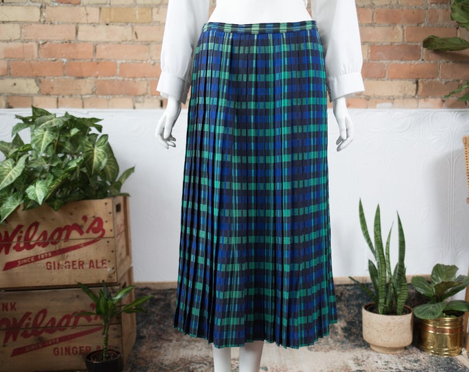 "Vintage Plaid Skirt - 32"" Scottish Style Long Blue and Green Tartan Spring Summer Preppy Pleated Wool Kilt - Made in UK by Peter Mantiu"