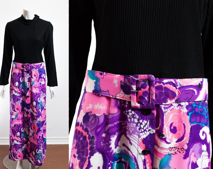 Vintage Hippie Dress / 60's Long Sleeve Black Top Blocking with Long Purple Floral Skirt with Original Belt / Designed in London by Zazie