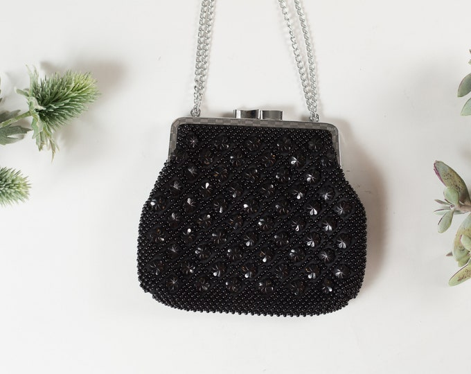 Vintage Beaded Hand Purse - Floral Ornate Style Black Colored Purse or Carrying Bag with Clasp -Mother's Day Gift - Gift for Mom
