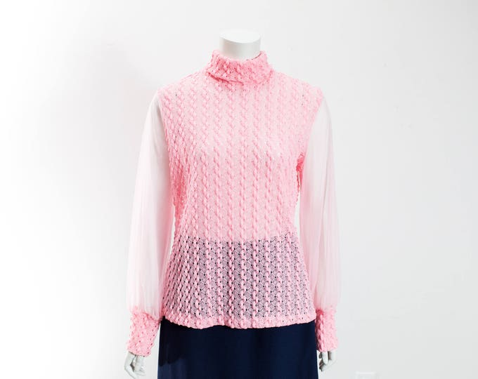 Vintage Pink Textured Top with Sheer Arms / Pastel Pink Ladies Shirt with Zip Up Back and Roll Down Collar / Made in Canada / Size 18