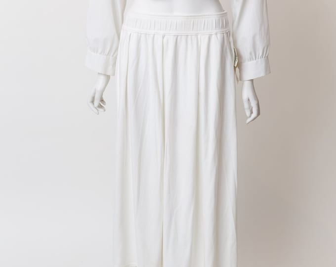 Vintage White Skirt - Stretchy Long Cotton Polyester Blend Skirt from Simpsons Toronto