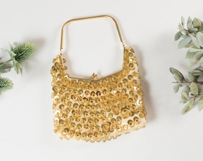 Vintage Flapper Purse - Beaded Sequin Gold Coloured Hand Bag - Art Deco Club54 Style Purse or Carrying Bag with Clasp - Mother's Day Gift