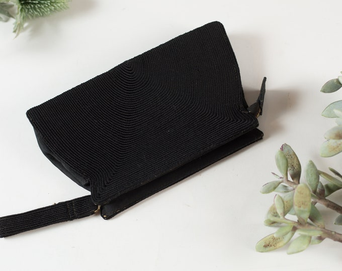 Vintage Black Clutch - Women's Black Fabric Purse - Ornate Art Deco A-line Wallet - Prom Purse -Mother's Day Gift