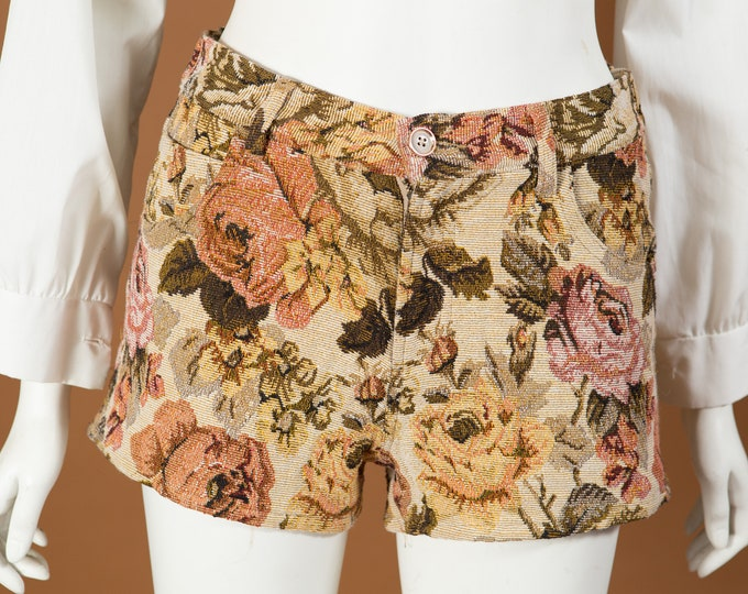 "Vintage Floral Shorts - 24"" Waist Women's Booty Shorts"
