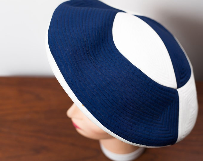 Vintage Ladies Beret Hat - Blue and White Nautical Color Block  Round UFO Shaped Pancake Puff Hat - Yacht Sailing Hat