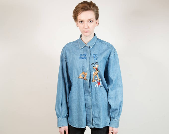 Vintage Blue Denim Shirt with Disney's Pluto the Pup - XL Women's or Ladies Vintage Button up Western Shirt with Embroidered Dog Puppy