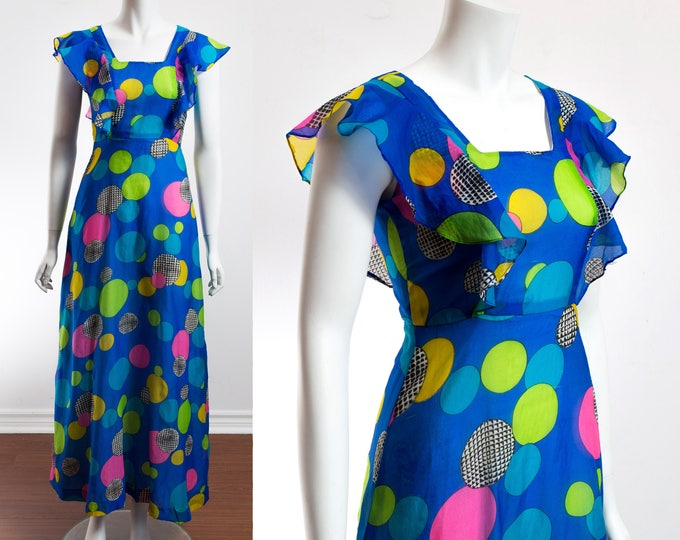 Vintage 70's Disco Dress / Size 0 Lightweight Blue Sheer Summer Dress with Colorful Balls Pattern /