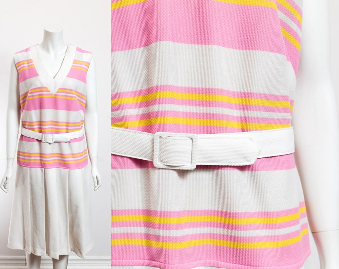 Vintage Tennis Dress / 70's Pink and White Sleeveless Dress with with Stripes and Pleated Skirt and Original Belt