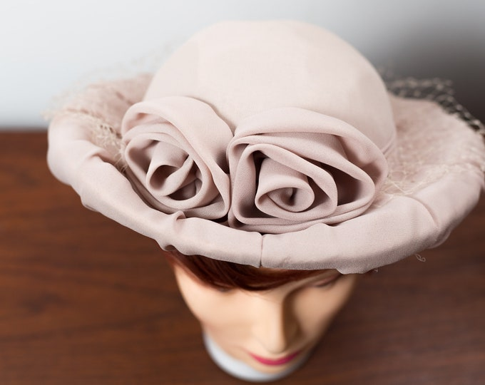 Vintage Dusty Rose Hat with Rose Flowers and Lace - Ladies Curled Brim Bretton Hat - Ornate Puff Hat
