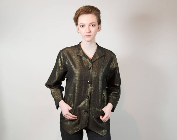 Vintage Metallic Gold Jacket - Thin Women's or Ladies Shiny Bronze Blazer - Button up Coat by Mister Leonard