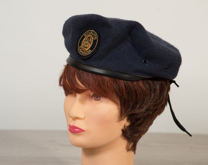 Scouts Canada Hat -  Vintage Men's or Ladies Blue Wool Canadian Army Cap