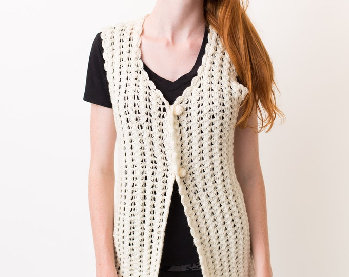 Vintage Cream Knit Vest - Off White Hand-Knitted Shawl