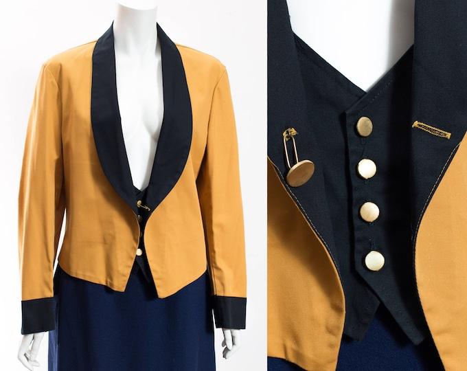 Vintage Waiter Blazer / 70's Mustard and Black Waitress Blazer with Gold Buttons / Bell Boy Movie Theatre Suit Jacket Ella Skinner Uniforms