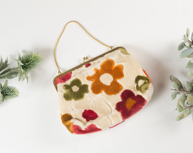 Vintage Floral Purse - Women's Flower Cream Fabric Purse - Ornate Hippie 70's Style Bag - Prom Purse -Mother's Day Gift