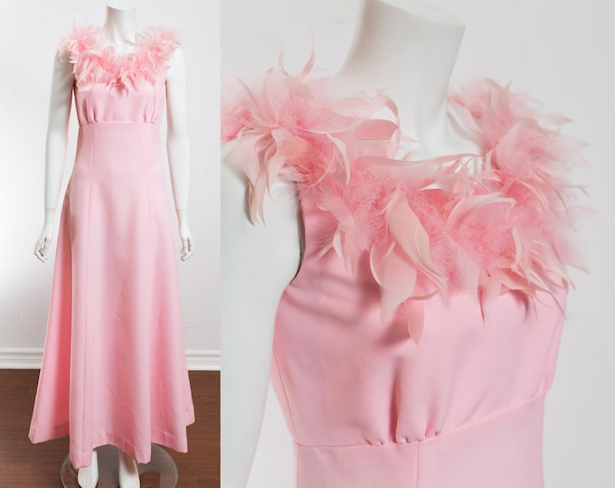 Vintage Pink Feather Dress / Size 10 Flapper Prom Party Dress with Feathered Collar