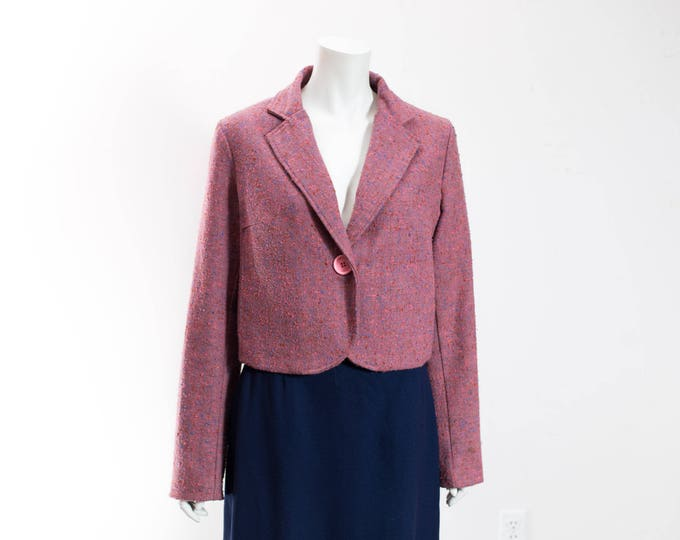 Français Beauregard Cropped Jacket / Pink Wool Crop Top Blazer with Textured Fabric / Made in Canada