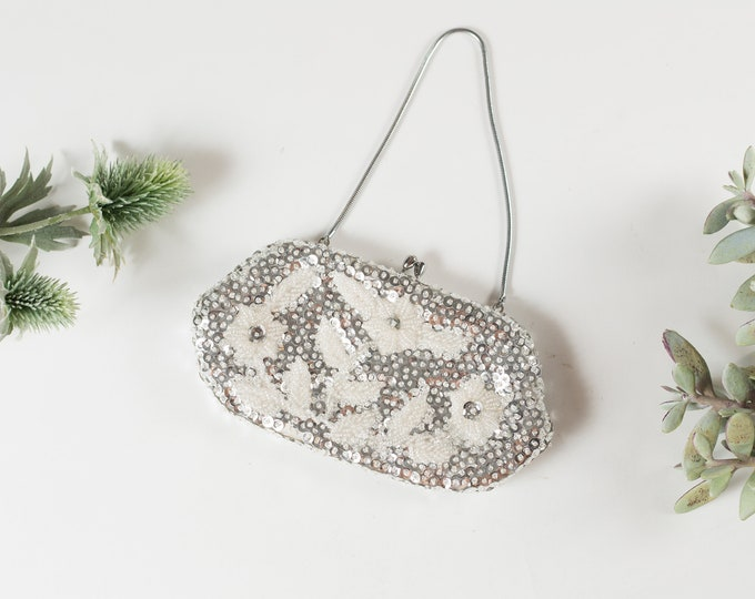 Vintage Sequin Hand Purse - Floral Ornate Style Silver and White Colored Purse or Carrying Bag with Clasp Closure -Mother's Day Gift