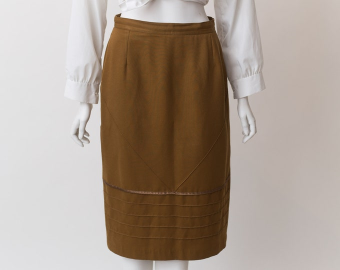 Vintage Brown Skirt - Medium Size Wool blend Skirt - Earth tone Spring or Summer Hippie Office Casual Skirt