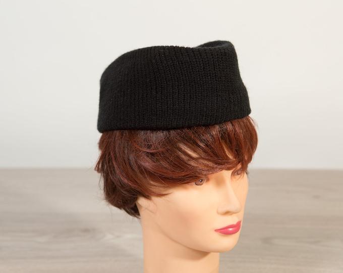 Vintage Black Hat - Ladies Soviet Style Hat - Zoya the Destroya