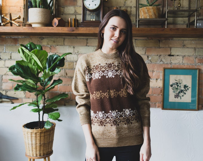 Vintage Brown Sweater - Oswal Acrylic Geometric Pattern Pullover -Spring Ladies Women's Sweater