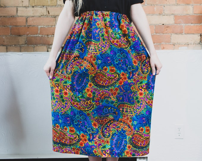 Vintage Blue Floral Skirt with Paisley Pattern - Flexible Waist High Waisted Polyester Spring Summer Skirt with Flowers