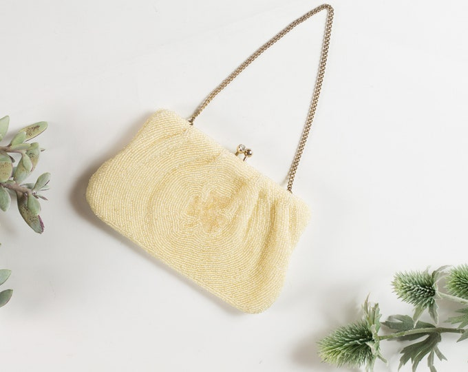Vintage Allover Beaded Hand Purse - 3-leaf clover Irish Style Cream Colored Purse or Carrying Bag with Clasp - Ireland Style -Mother's Day
