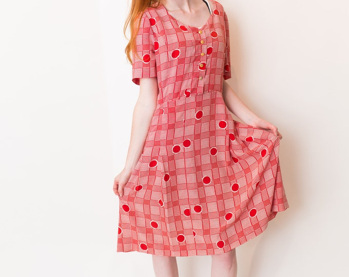 Vintage Red Geometric Polka Dot Dress - Short Sleeve Summer Dress with Pleated Skirt and Gold buttons