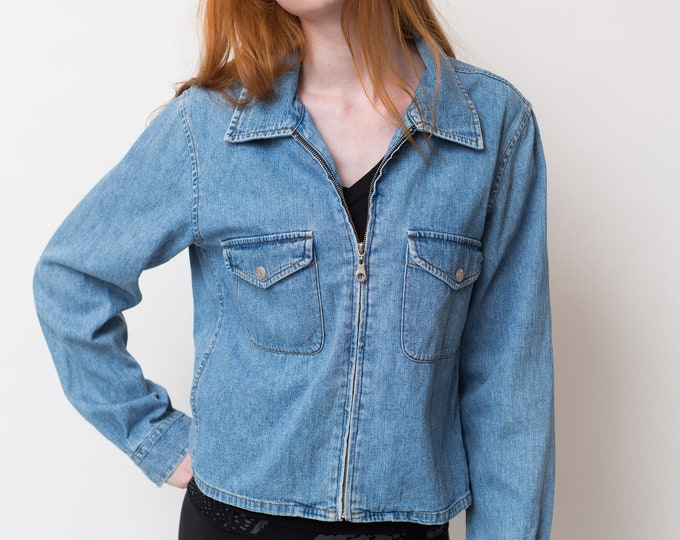 Vintage Blue Denim Jacket - Large Women's or Ladies Vintage Jean Button Up Long Sleeve Coat - Made in Hong Kong byExpress Blues Couture
