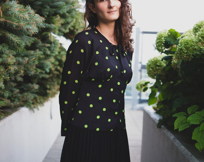 Vintage Polka Dot Blouse - Green and Black PolkaDot Women's Ladies Long Sleeve Shirt by Wendy with Necktie
