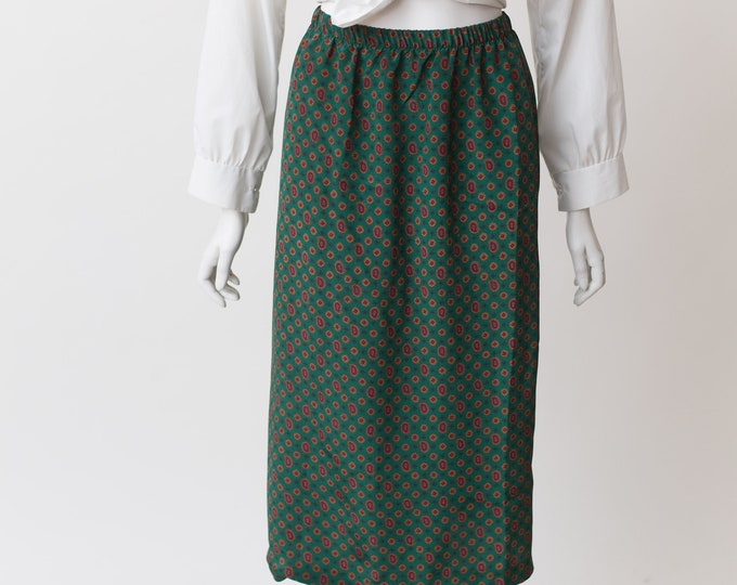 "Vintage Floral Paisley Green Skirt - 22-30"" Waist Spring Summer Green lightweight Skirt with stretchy waist"